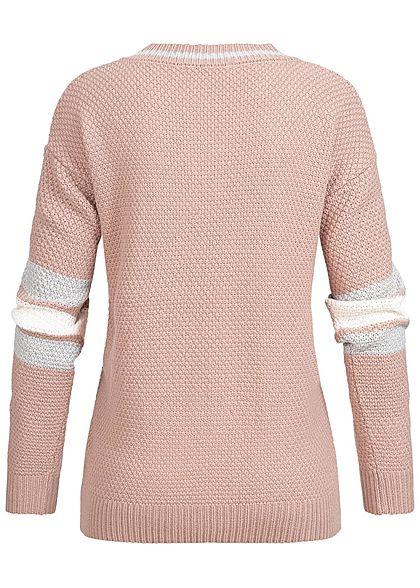 Aiki Damen V-Neck Sweater Strickpullover Stitching rosa weiss grau