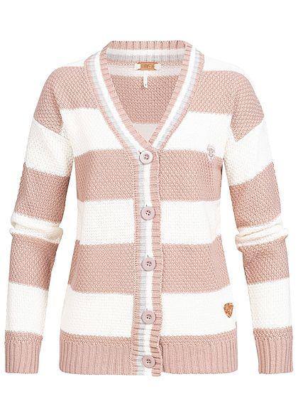 best service 65a23 6745d Aiki Damen Strickjacke Streifen Muster rosa weiss