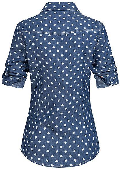 Aiki Damen Bluse Sterne Muster navy blau denim weiss