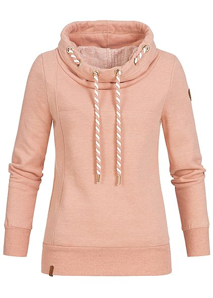 ONLY Damen High-Neck Sweater 2 Taschen misty rosa