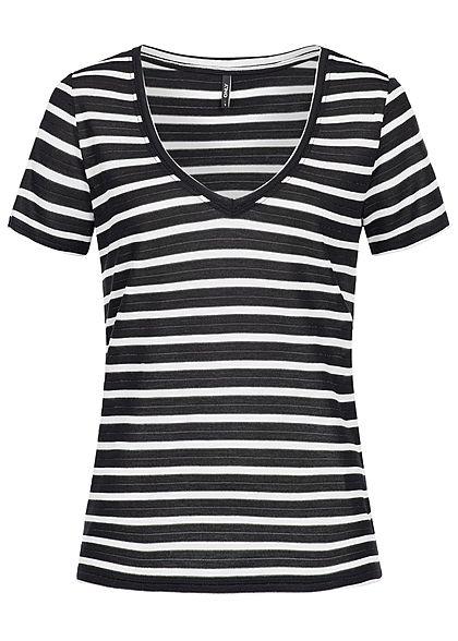 b38d95e22195dc ONLY Damen T-Shirt Streifen Muster schwarz cloud dancer weiss - 77onlineshop