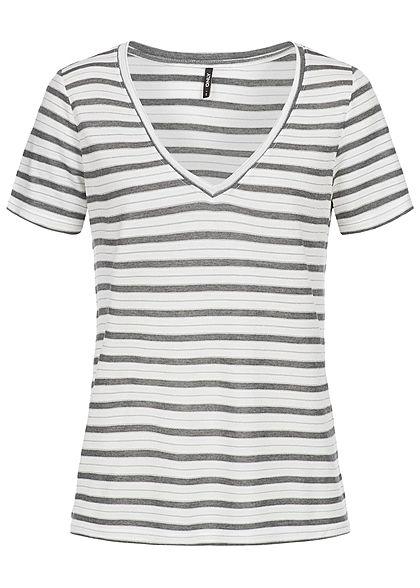 ONLY Damen T-Shirt Streifen Muster cloud dancer weiss grau - 77onlineshop c33f69c7de