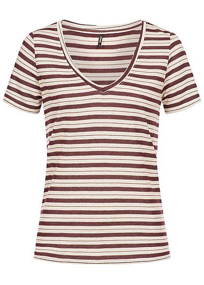 94f5d182758b00 ONLY Damen T-Shirt Streifen Muster oatmeal beige picante rot - 77onlineshop