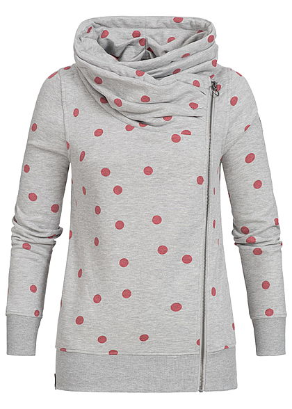 ONLY Damen High-Neck Zip Sweat Jacke Punkte Muster hell grau melange pink -  77onlineshop 3778eb96c5