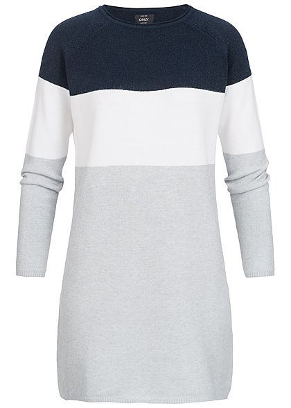 ONLY Damen Colorblock Knit Dress NOOS night sky navy blau weiss grau