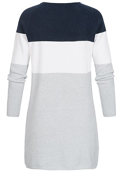 ONLY Damen NOOS Colorblock Kleid night sky navy blau weiss grau