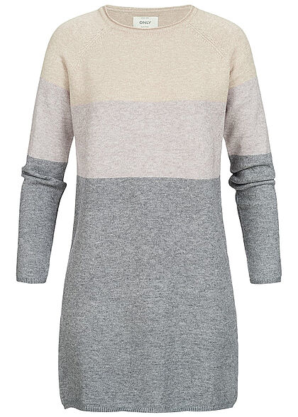 ONLY Damen Colorblock Knit Dress NOOS mahogany rosa grau