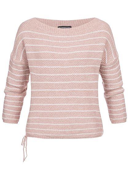 best service 538ac e37e4 Styleboom Fashion Damen Strickpullover Streifen Muster rosa weiss