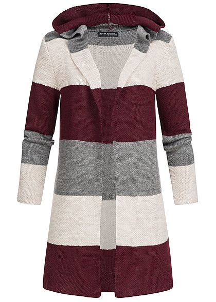 Styleboom Fashion Damen Cardigan Kapuze Colorblock grau bordeaux beige