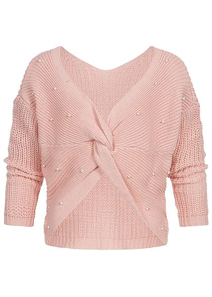 Styleboom Fashion Damen Off- Shoulder Strickpullover Deko Perlen rosa