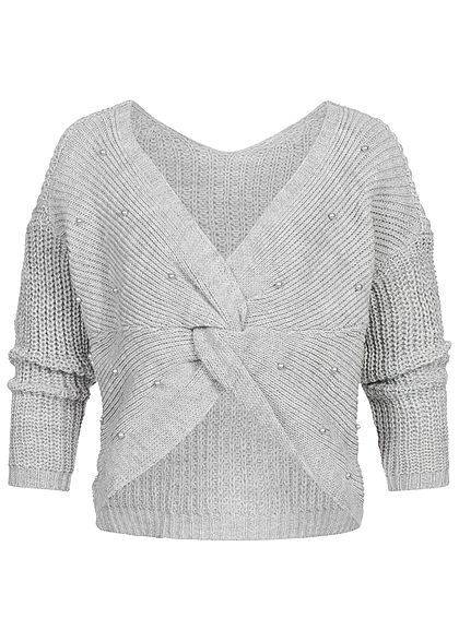 Styleboom Fashion Damen Off- Shoulder Strickpullover Deko Perlen hell grau