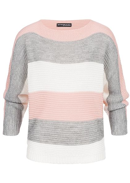 Styleboom Fashion Damen Strickpullover Colorblock hell grau weiss rosa