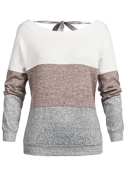 Styleboom Fashion Damen Colorblock Pullover weiss rosa grau melange