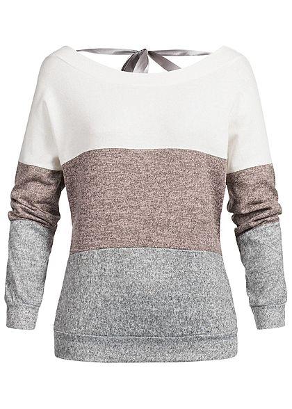 Styleboom Fashion Damen Pullover Sweater Colorblock weiss rosa grau -  77onlineshop 51b0fa3a1f
