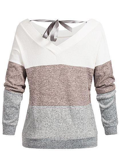 Styleboom Fashion Damen Colorblock Pullover Schleife hinten weiss rosa grau