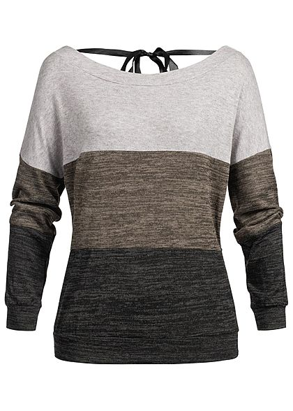 Styleboom Fashion Damen Pullover Sweater Colorblock grau braun schwarz