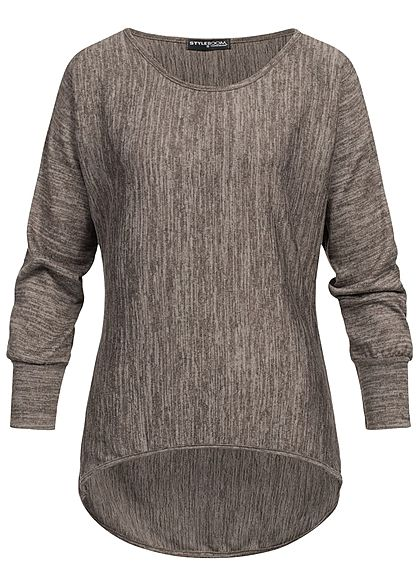 Styleboom Fashion Damen Fledermaus Sweater fango braun melange