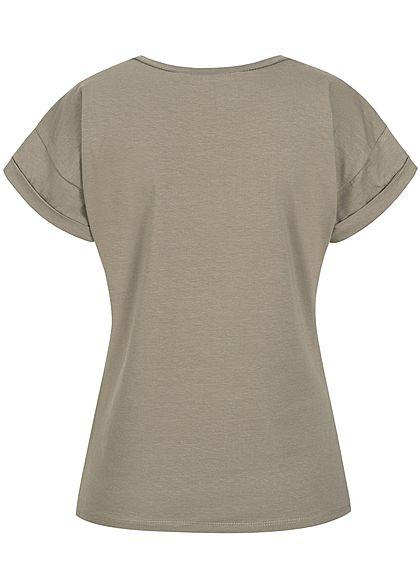 Styleboom Fashion Damen T-Shirt Deko Perlen Stern fango braun