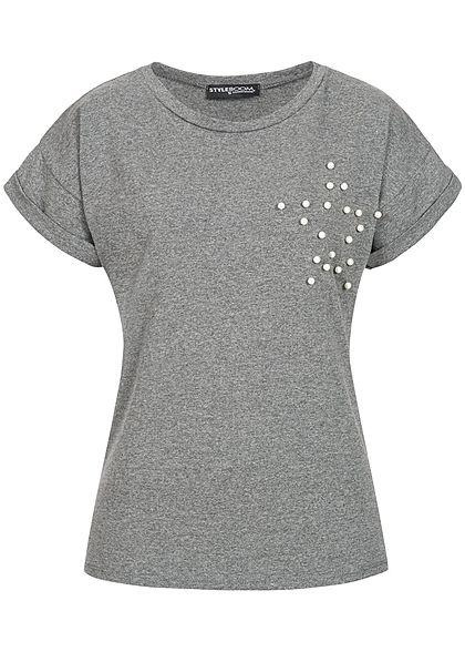 e124701e3eb3e6 Styleboom Fashion Damen T-Shirt Deko Perlen Stern dunkel grau - 77onlineshop