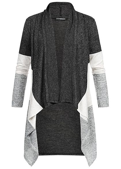 Styleboom Fashion Damen Cardigan Colorblock schwarz hell grau