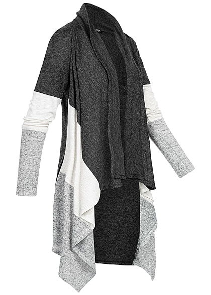 Styleboom Fashion Damen Colorblock Cardigan dunkel grau