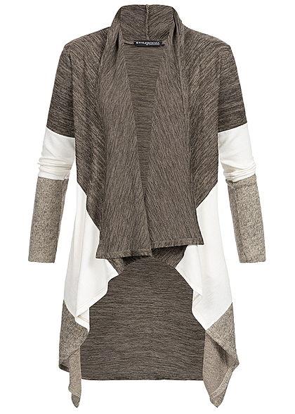 3491b276634b Styleboom Fashion Damen Cardigan Colorblock fango braun weiss beige -  77onlineshop
