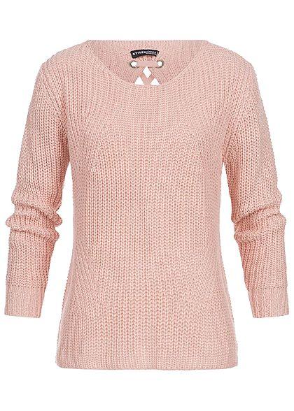 100% authentic 3888c 1cd09 Styleboom Fashion Damen Strick Pullover Kreuzschnürung hinten Glitzer rosa