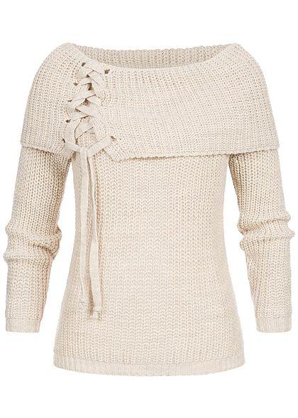 new arrival 3e3c0 d3050 Styleboom Fashion Damen Off-Shoulder Strickpullover beige