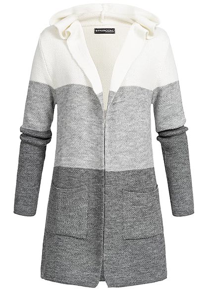 3bc392897c2203 Styleboom Fashion Damen Strick Cardigan Colorblock off weiss grau dunkel  grau - 77onlineshop