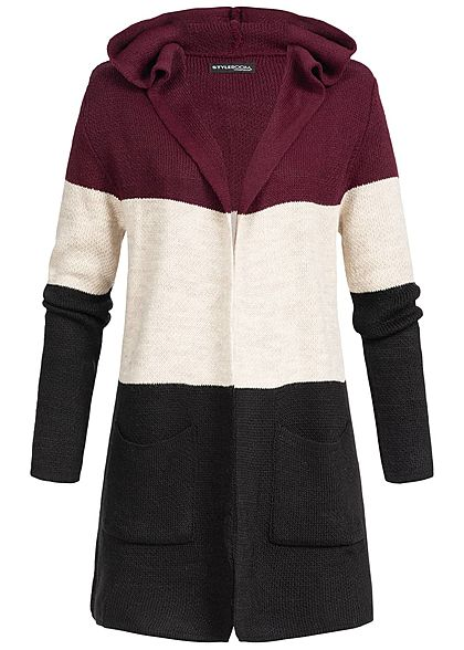 Styleboom Fashion Damen Strick Cardigan Colorblock bordeaux rot beige schwarz