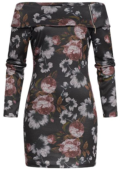 Styleboom Fashion Damen Mini Off-Shoulder Kleid Blumen Print schwarz