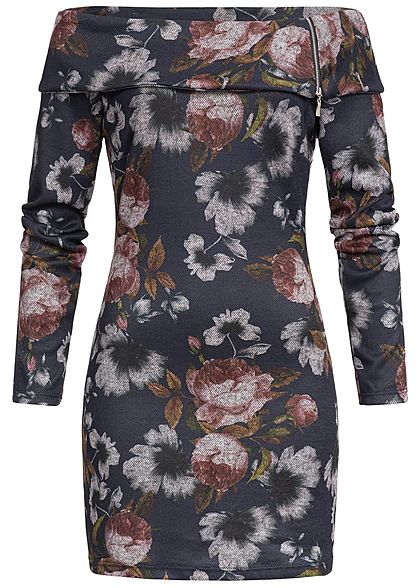 Styleboom Fashion Damen Mini Off-Shoulder Kleid Blumen Print navy blau