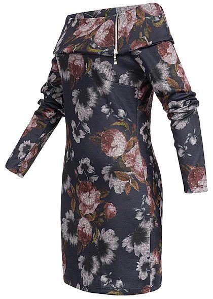 Styleboom Fashion Damen Mini Off-Shoulder Kleid Blumen Print navy blau
