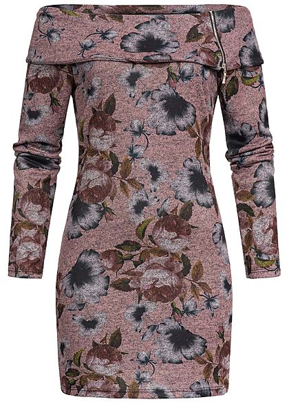 Styleboom Fashion Damen Mini Off-Shoulder Kleid Blumen Print rosa