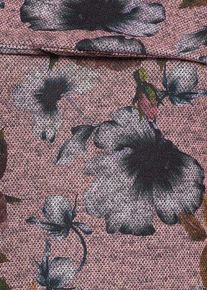 Styleboom Fashion Damen Mini Off-Shoulder Kleid Blumen Print rosa