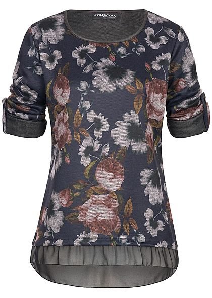 Styleboom Fashion Damen Turn- Up Shirt Longsleeve Blumen Print navy blau