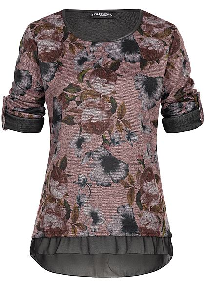 Styleboom Fashion Damen Turn- Up Shirt Longsleeve Blumen Print rosa