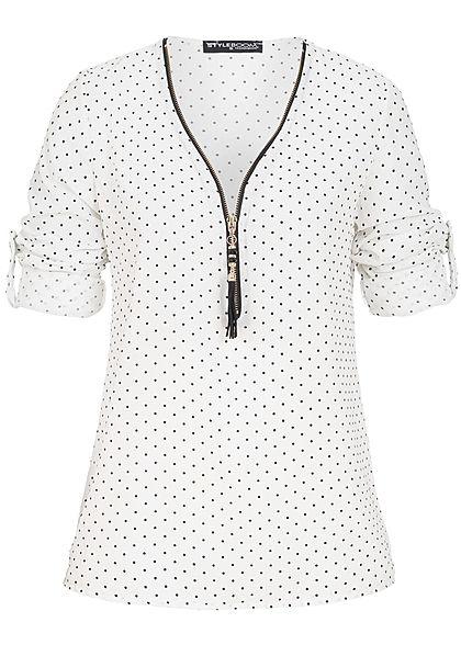 Styleboom Fashion Damen Turn-Up Blusen Shirt Punkte Muster Zipper weiss  schwarz - 77onlineshop e82551ab06