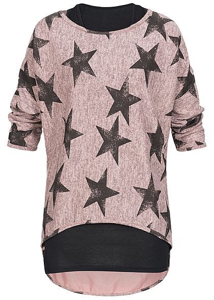 Styleboom Fashion Damen 2in1 3/4 Arm Shirt Sterne Muster rosa