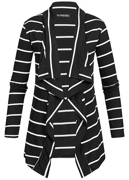 bd3341ad29166d Styleboom Fashion Damen Cardigan Streifen Muster schwarz weiss -  77onlineshop
