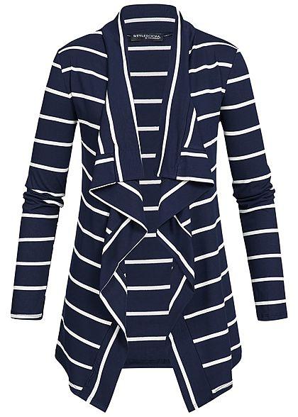 Styleboom Fashion Damen Cardigan Streifen Muster navy blau weiss -  77onlineshop 03c78977d5