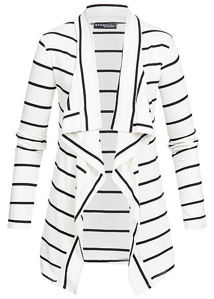 33b4fae0731693 Styleboom Fashion Damen Cardigan Streifen Muster weiss schwarz -  77onlineshop