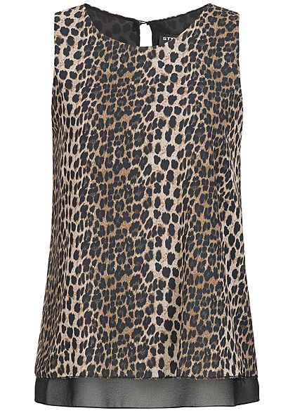 Styleboom Fashion Damen Top Leo Print braun schwarz