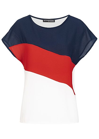 Styleboom Fashion Damen Blusen Top Colorblock navy blau rot weiss