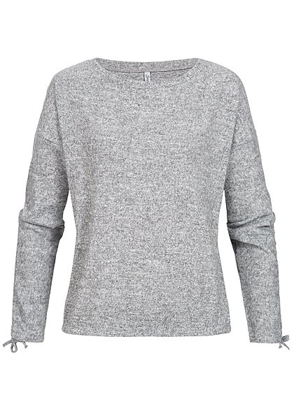 Seventyseven Lifestyle Damen Pullover Sweater grau melange - 77onlineshop 3b5426a4ac