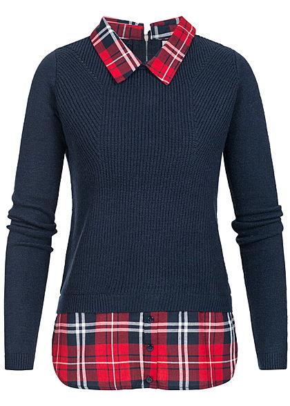 promo code b4c41 b8511 Seventyseven Lifestyle Damen 2in1 Optik Pullover und Hemd navy blau rot  kariert