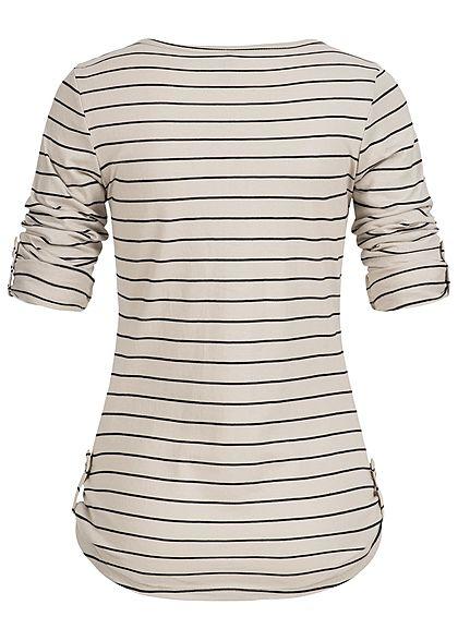 Seventyseven Lifestyle Damen Turn-Up Longsleeve Streifen Muster beige schwarz