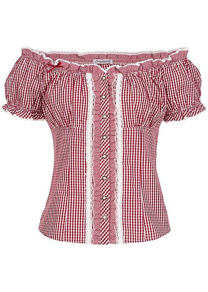 Seventyseven Lifestyle Damen Trachten Bluse Knopfleiste Rüschen rot