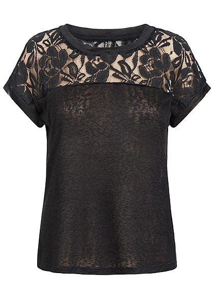 e01d3b8ac4e4 ONLY Damen T-Shirt Spitze oben schwarz - 77onlineshop