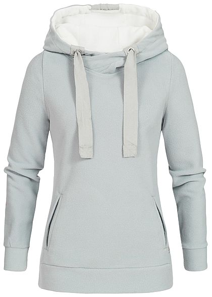 Eight2Nine Damen Fleece Hoodie Kapuze Kängurutasche by Sublevel hell grau